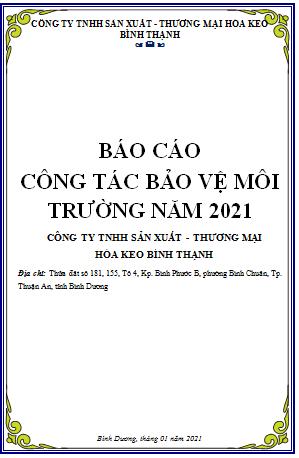 BÁO CÁO CÔNG TÁC BẢO VỆ MÔI TRƯỜNG NĂM 2021
