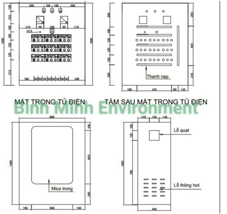 Hình 2. Thi công lắp đặt tủ điện xử lý nước thải - Thiết kế vỏ tủ điện